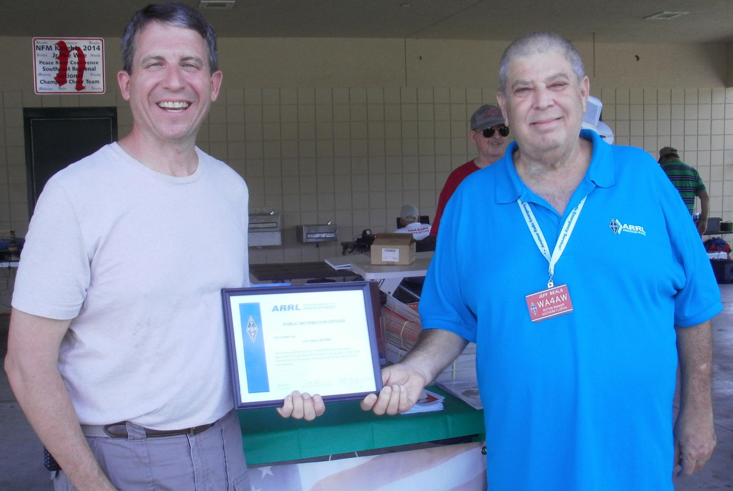 Certificate Awarded to W4CMH by Fort Myers Amateur Radio Club